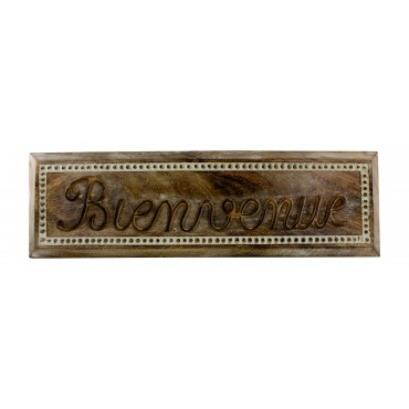 "Wall mounted wood decor sign, French vintage style ""Bienvenue"""