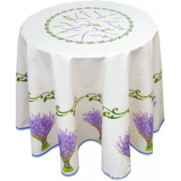 "Provencal Tablecloth 70"" Round Coated Lavander"