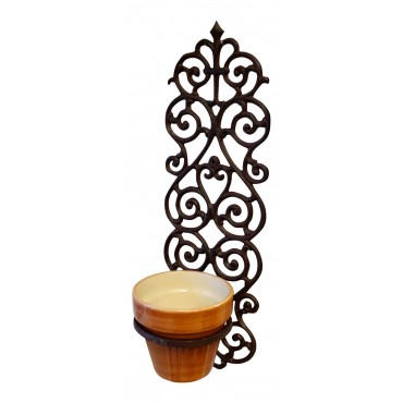 "Wall mounted flower pot ring, Dark brown cast iron, French Antique style ""Arabesque"""