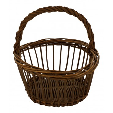 Authentic painted wicker basket, round shape, French style
