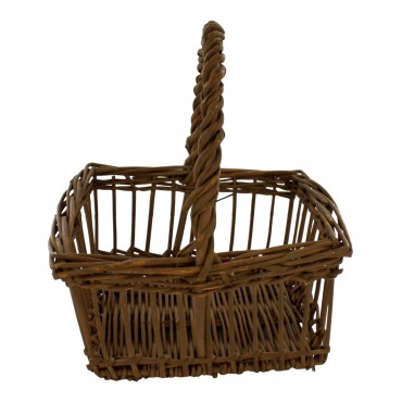 Authentic painted wicker basket, square shape, French style