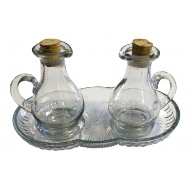 Glass oil and vinegar set with tray, pitcher style, French vintage design