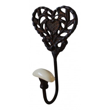 "Metal coat hook, wall mounted, French vintage design ""Coeur"""