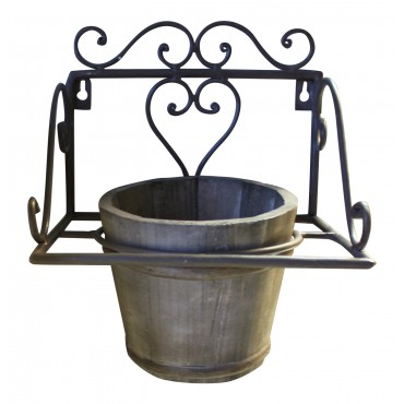 "Wall mounted flower pot ring, wrought iron, pot included, French vintage style ""Jardiniere en fer forge"""