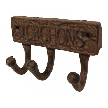 "Cast Iron 3 Hooks Rack, French Antique Design ""Torchons"""