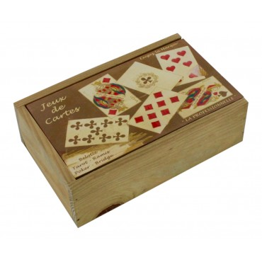 "Decorative wooden box, French vintage design ""Jeux de cartes"""