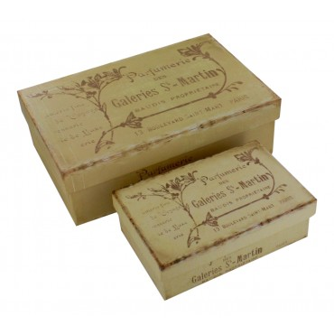 "Decorative storage boxes  - set of 2 - rectangular- French vintage design ""Parfumerie Paris"""
