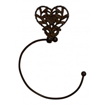 "Cast iron towel ring - French vintage design ""Coeur"
