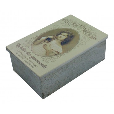 "Decorative box - rectangular - zinc - French vintage design ""La Boite des Gourmandises"""