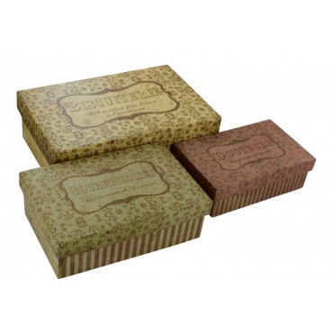"Decorative storage boxes  - set of 3 - rectangular- French vintage design ""Biscuiterie"""