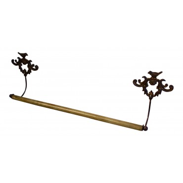 "Dark brown metal towel bar - French vintage design ""Oiseaux"""