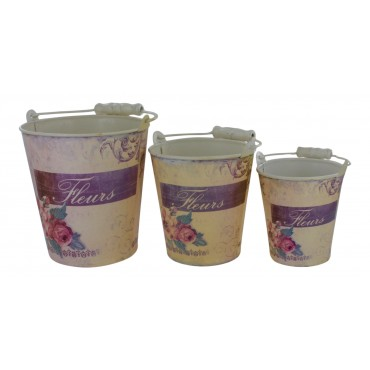 "Set of 3 metal flower pots with handle, French Vintage design ""Fleurs"""