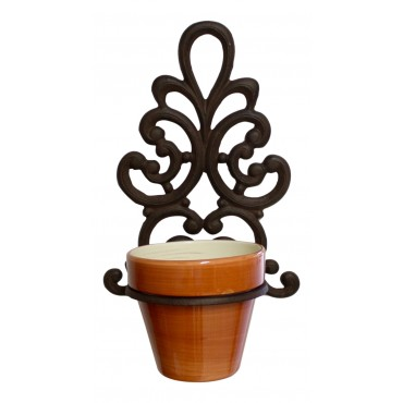 "Wall mounted flower pot ring, Dark brown cast iron, French Antique style ""Lys Arabesque"""