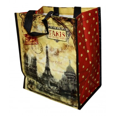 "Small Shopping Bag, French vintage design ""Paris Monuments"""