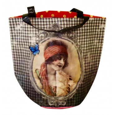 "Shopping Bag with round base, French design ""Retro Parisian Lady"""