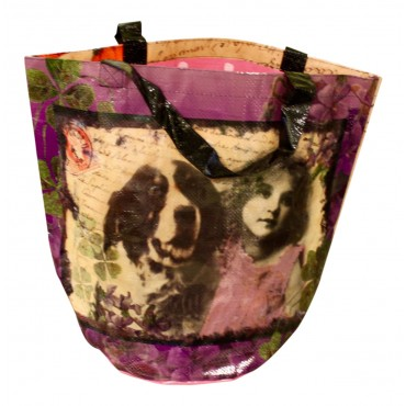 "Shopping Bag with round base, French design ""retro girls and dogs"""