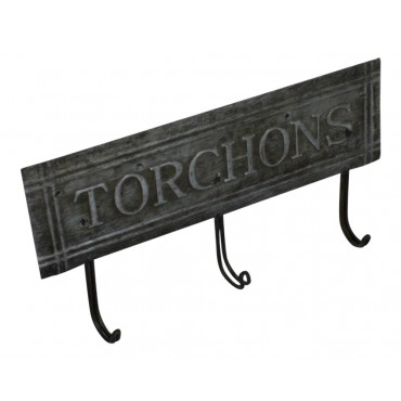 "3 Hooks Rack, zinc, French Vintage Design ""Torchons"""
