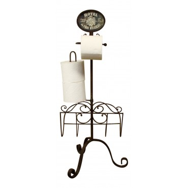 "Dark brown metal toilet paper stand with magazine rack,  French vintage design ""Hotel Parc Mirabeau"""