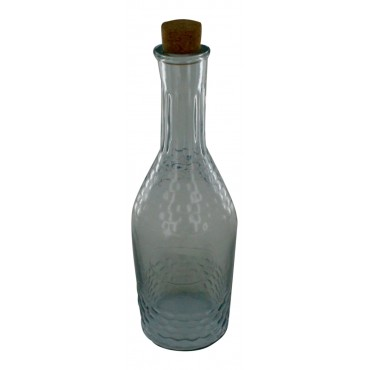 "Clear Glass Bottle with cork stopper, French Vintage Design ""Eau Fraiche"""