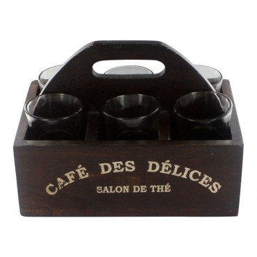 "6 coffee shots glasses with decorative wooden glass caddy, French vintage design ""Cafe des delices"""