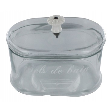 "Antique Bathroom glass jar, French vintage design ""Sels de bain"""
