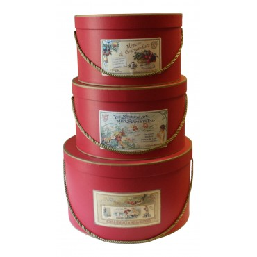 "Set of 3 ladies hat boxes, red, French vintage design ""les Petits collectionneurs"""