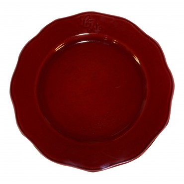 Earthenware Dinner Plates, Set Of 6, Dark Red, French Vintage Design
