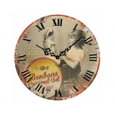 "French Wall Clock - Bonbons Caramel - 12"" - Metal Embossed"