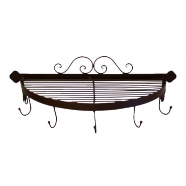 Wall mounted half round decorative metal shelf with 5 hooks,  French vintage design