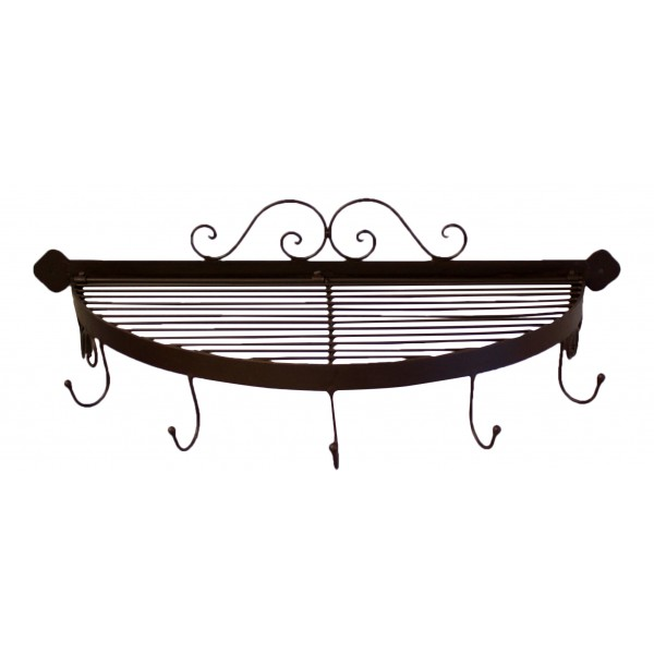 Wall Mounted Metal Shelf wall mounted half round decorative metal shelf with 5 hooks