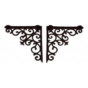 "10"" Cast iron shelf brackets, Dark brown, set of 2, French Antique design ""Arabesque"""