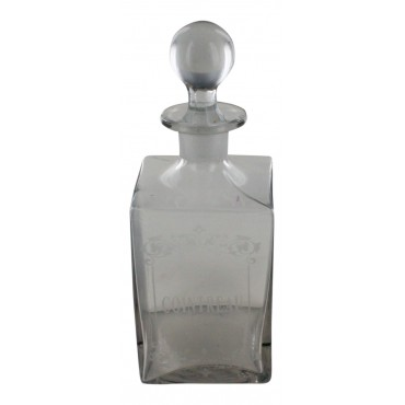 "Glass liquor bottle, French vintage design ""Cointreau"""