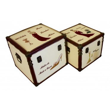 "Set of 2 storage boxes, ivory and brown faux leather, French vintage design ""Paris Haute Couture"""