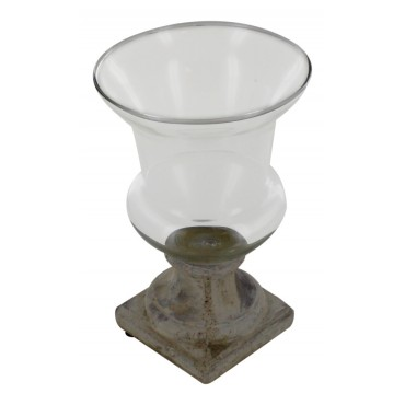 Vintage Vase / Candle Holder with stone style base, French Vintage Design