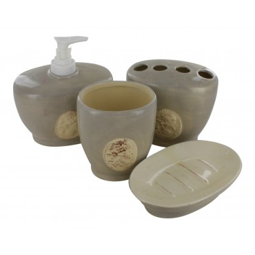 4-piece earthware bathroom accessory set, light grey and ivory, French vintage design