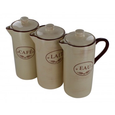 "Earthenware Pitchers with lid, set of 3, French vintage design ""cafe, eau, lait"""