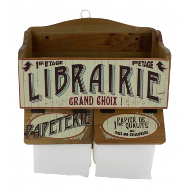 "Wall mounted wooden toilet paper holder - French vintage design ""Librairie-papeterie"""