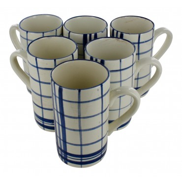 "Earthernware mugs, set of 6, ivory,  French vintage design ""carreaux"""