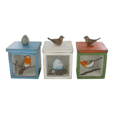 "Decorative storage boxes  - set of 3 - square- French vintage design ""Oiseaux"""