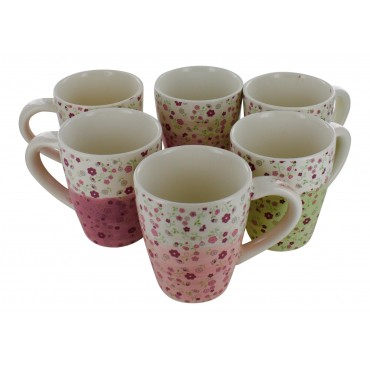 "Earthernware mugs, set of 6,  French vintage design ""Petites Fleurs"