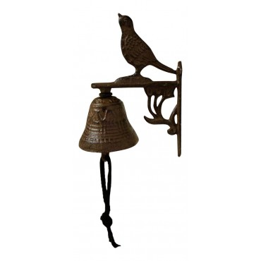 "Wall mounted Antique Style Bell, cast iron, French design ""Oiseau"""