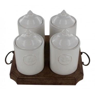 Apothecary bathroom jars, set of 4, white and a wooden platter