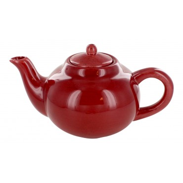 Earthernware burgundy teapot, French vintage design