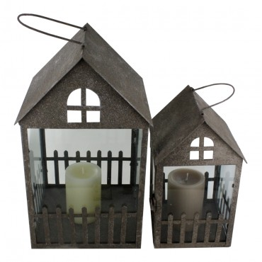 Candle lanterns, set of 2, old metal style,  French vintage design