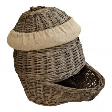 Authentic small wicker storage basket with lid,  French vintage style