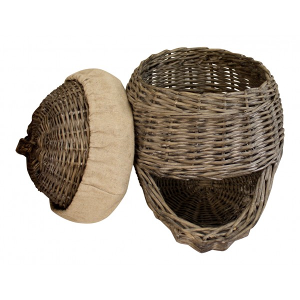 Authentic small wicker storage basket with lid French vintage style  sc 1 st  My French Neighbor & Authentic small wicker storage basket with lid French vintage style ...