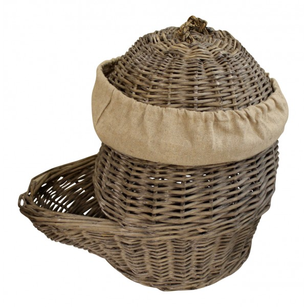 Authentic small wicker storage basket with lid French vintage
