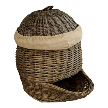 Authentic wicker storage basket with lid,  French vintage style