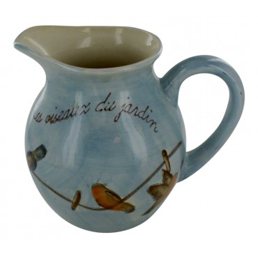"Earthenware Pitcher, French vintage design ""les Oiseaux du jardin"""