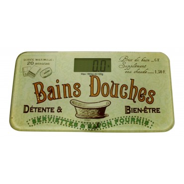 "Digital bathroom scale, French vintage design ""Bains Douches"""